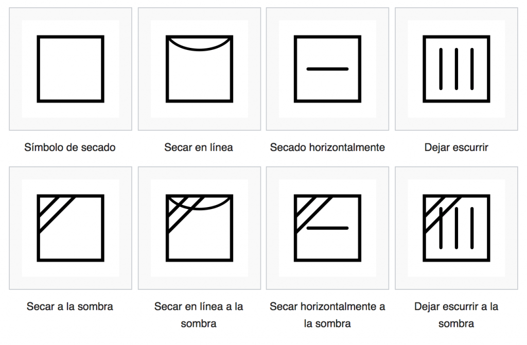 símbolos de secado